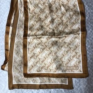 Coach long Script Brown/Tan/Cream Silk Scarf